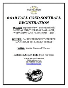 2016 Baseball Softball Registration